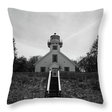 Old Mission Point Lighthouse Throw Pillow