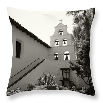 Old Mission San Diego Bell Tower Throw Pillow