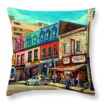 Old Montreal Schwartzs Deli Plateau Montreal City Scenes Throw Pillow