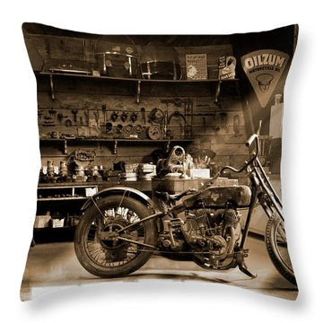 Old Motorcycle Shop Throw Pillow