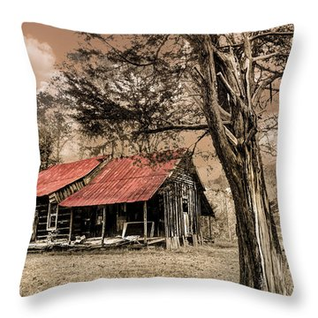 Old Mountain Cabin Throw Pillow by Debra and Dave Vanderlaan