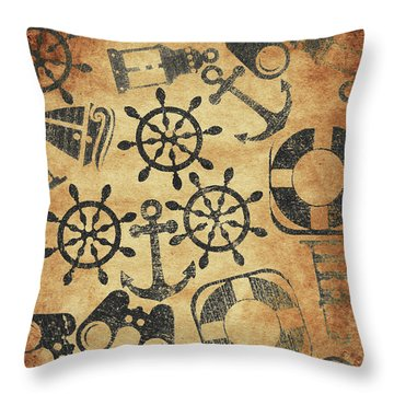 Old Nautical Parchment Throw Pillow