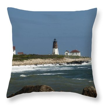 Old New England Lighthouse Throw Pillow
