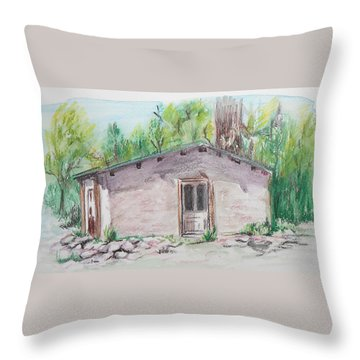 Old New Mexico House Throw Pillow