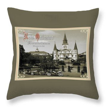 Old New Orleans Louisiana - Founded 1718 Throw Pillow