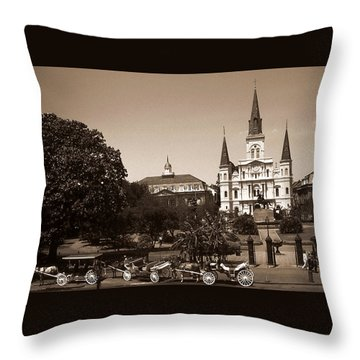 Old New Orleans Photo - Saint Louis Cathedral Throw Pillow