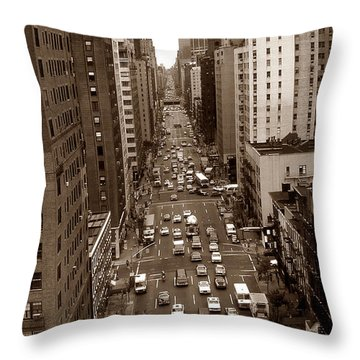 Old New York Photo - 10th Avenue Traffic Throw Pillow