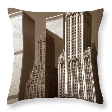 Old New York Photo - Woolworth Building And World Trade Center Throw Pillow