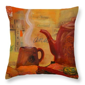 Old News And Breakfast Throw Pillow by Lynn Chatman