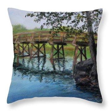 Old North Bridge In Pastel Throw Pillow by Jack Skinner