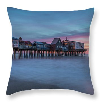 Old Orcharch Beach Pier Sunrise Throw Pillow