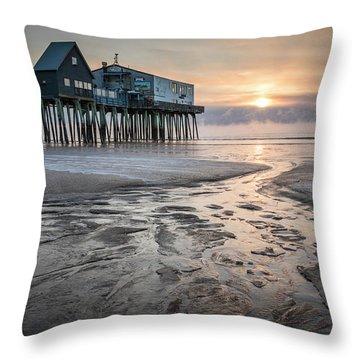 Old Orchard Beach Sea Smoke Sunrise Throw Pillow