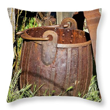 Old Ore Bucket Throw Pillow by Phyllis Denton