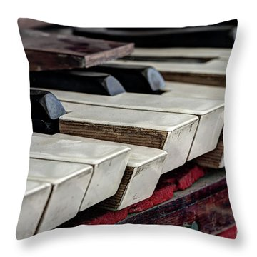 Throw Pillow featuring the photograph Old Organ Keys by Michal Boubin