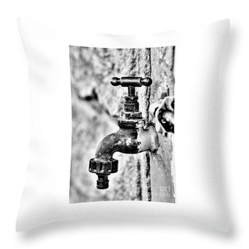 Old Outdoor Tap - Black And White Throw Pillow
