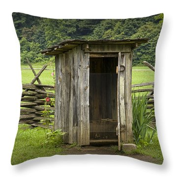 Old Outhouse On A Farm In The Smokey Mountains Throw Pillow