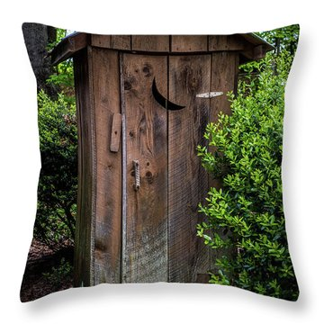 Old Outhouse Throw Pillow