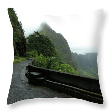 Throw Pillow featuring the photograph Old Pali Road, Oahu, Hawaii by Mark Czerniec