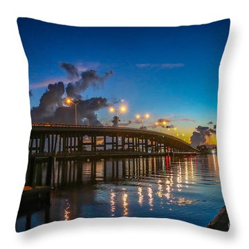 Old Palm City Bridge Throw Pillow