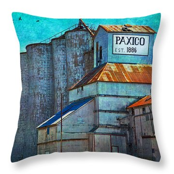 Old Paxico Kansas Grain Elevator Throw Pillow