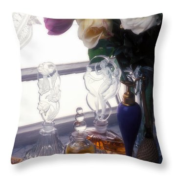 Old Perfume Bottles Throw Pillow by Garry Gay