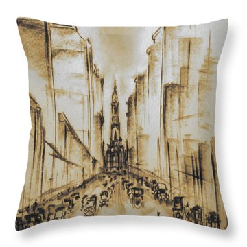 Old Philadelphia City Hall 1920 - Vintage Art Throw Pillow by Art America Gallery Peter Potter