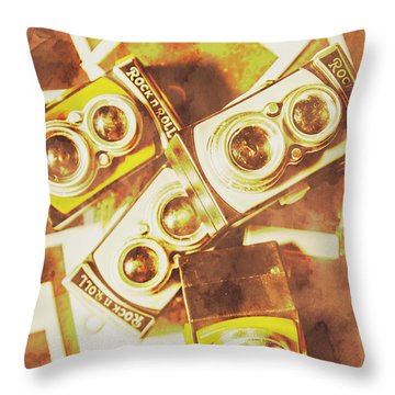 Old Photo Cameras Throw Pillow