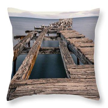 Old Pier In Punta Arenas Throw Pillow
