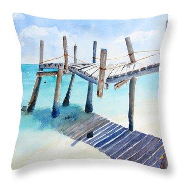 Old Pier On Playa Paraiso Throw Pillow