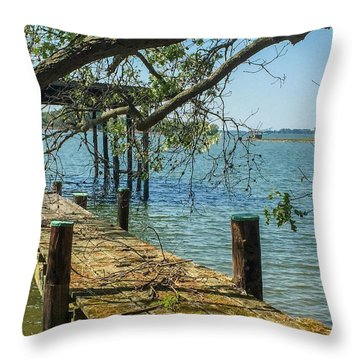 Old Pier On The Tred Avon Throw Pillow