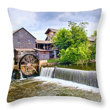 Old Pigeon Forge Mill Throw Pillow