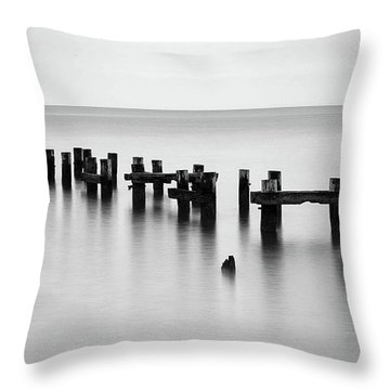 Old Pilings Black And White Throw Pillow