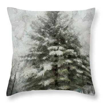 Throw Pillow featuring the mixed media Old Piney by Trish Tritz