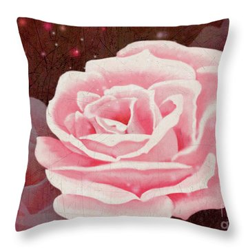 Old Pink Rose Throw Pillow