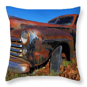 Old Police Car Throw Pillow