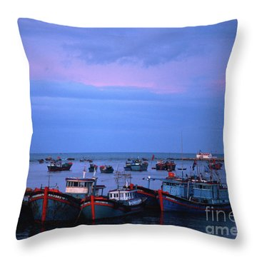 Old Port Of Nha Trang In Vietnam Throw Pillow