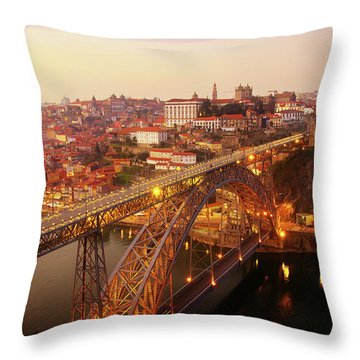 old Porto at  Pink Sunset, Portugal Throw Pillow