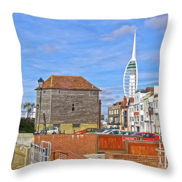 Old Portsmouth Flood Gates Throw Pillow by Terri Waters