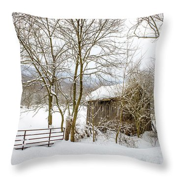 Old Post Office In Snow Throw Pillow