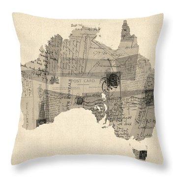 Old Postcard Map Of Australia Map Throw Pillow