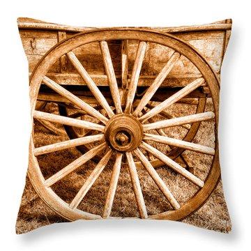 Old Prairie Schooner Wheel - Sepia Throw Pillow