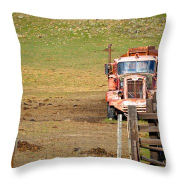 Old Pump Truck Throw Pillow