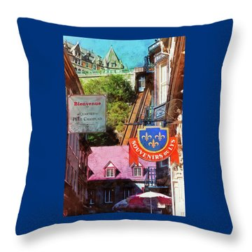Old Quebec City Funicular Throw Pillow
