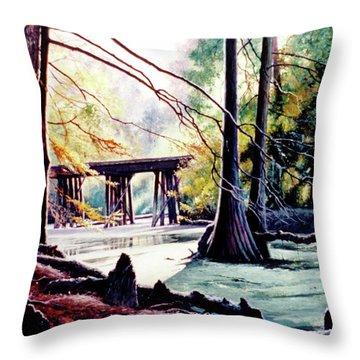 Old Railroad Bridge Throw Pillow