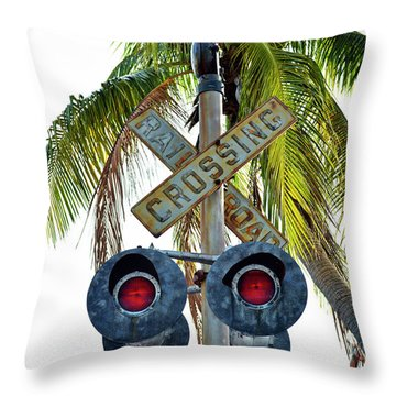 Old Railroad Crossing Sign Throw Pillow