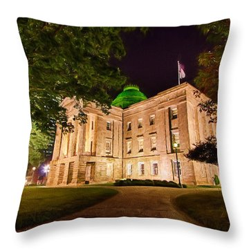 Old Raleigh Capital At Night II Throw Pillow