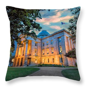 Old Raleigh Capital At Sunset II Throw Pillow