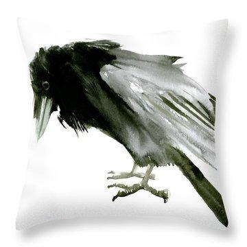 Old Raven Throw Pillow by Suren Nersisyan