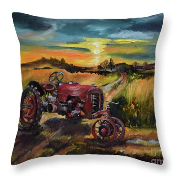 Old Red At Sunset - Tractor Throw Pillow