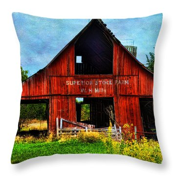 Old Red Barn And Wild Sunflowers Throw Pillow